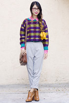 deep purple vintage sweater - tawny sam edelman boots