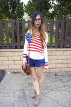 white UNIF sweater - brown Urban Outfitters bag - blue American Apparel shorts