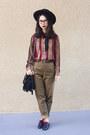 Black-nasty-gal-hat-brown-vintage-pants-brick-red-vintage-blouse