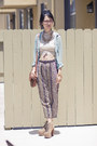 Aquamarine-unknown-blouse-brown-urban-outfitters-purse-tan-unknown-pants
