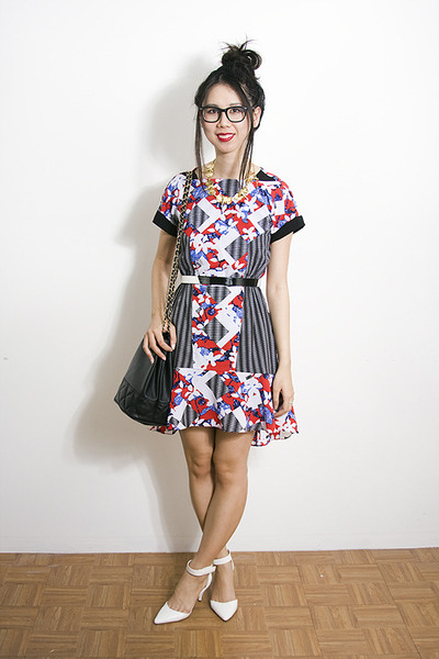 ruby red Peter Pilotto x Target dress - white asos heels