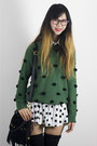 Forest-green-lk-collections-sweater-white-love-audrey-311-shorts