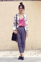 Zara blazer - unknown bag - American Apparel blouse - American Apparel heels
