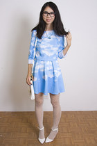 sky blue Choies dress - white asos heels