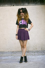 Black-unknown-top-purple-urban-outfitters-skirt