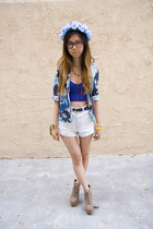 blue Nasty Gal top - navy Goodwill blazer - tawny Urban Outfitters bag