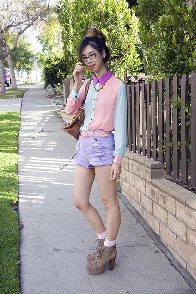 light blue Nasty Gal blouse - light purple Nasty Gal shorts