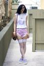 Bubble-gum-unif-shorts-light-purple-tuk-shoes-periwinkle-thank-you-mart-hat