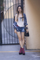 white Urban Outfitters top - navy Goodwill shirt - navy DIY shorts