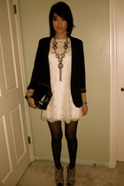 black Silence & Noise blazer - white f21 dress - silver f21 necklace - yellow As