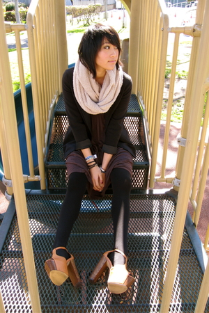 beige LF scarf - beige Jessica Simpson shoes - brown Angl dress