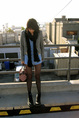 black doc martens shoes - gray Express blazer - blue aa shorts - beige UO vest -