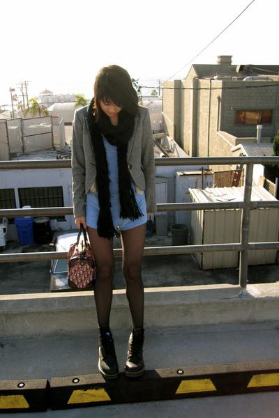 black doc martens shoes - gray Express blazer - blue aa shorts - beige UO vest -