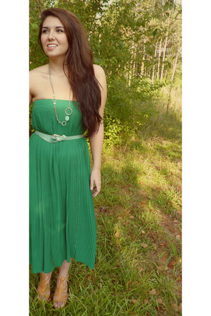 green thrifted dress - aquamarine calvin klein belt - tan Jessica Simpson heels