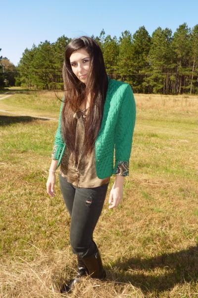 forest green vintage jacket - black Ralph Lauren boots - black Bullhead jeans