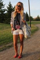 Zara blazer - Zara shorts - Forever 21 top - Zara flats