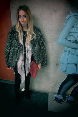 Miss Sixty coat - Alexander McQueen scarf - D&G bag