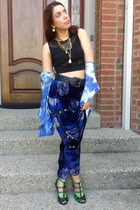 vintage blouse - Kalaka Hungary heels - velvet vintage pants