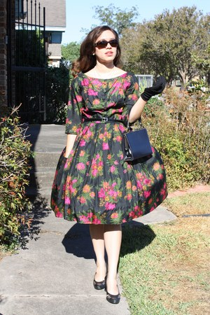 cocktail poof thrifted vintage dress - dark gray thrifted vintage bag