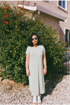 blue round H&M sunglasses - light blue shirt dress dress - scarf