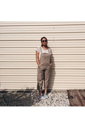 cream lace crop top monteau top - dark brown round sunglasses