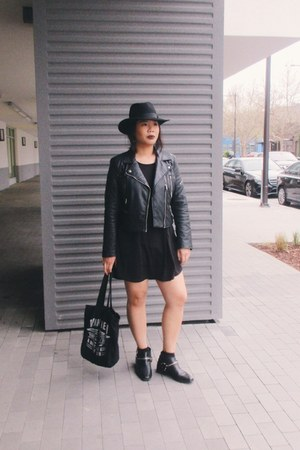 black ankle boots Zara boots - black shirt dress cotton on dress