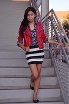 ruby red leather studded Forever 21 jacket - navy Forever 21 shirt