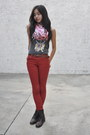 Red-plaid-jcpenney-scarf-dark-brown-laceup-forever-21-boots
