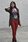 Dark-brown-laceup-forever-21-boots-brick-red-floral-print-forever21-jeans
