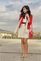 red Forever 21 blazer - white Forever 21 dress - peach H&M scarf - red H&M bag