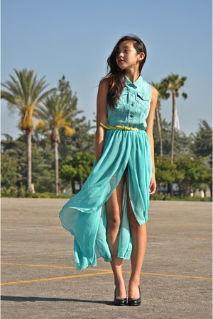 black unknown heels - aquamarine Forever 21 dress