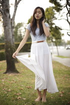 ivory long skirt unknown skirt - sky blue Forever 21 shirt
