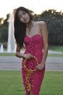 Hot-pink-ruffled-h-m-dress-gold-diy-accessories