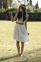 white lace Forever 21 dress - gold handmade accessories