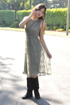 olive green lace Forever 21 dress - black suede Soda boots