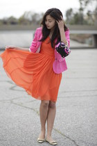 blue Versace for H&M bag - carrot orange H&M dress - hot pink H&M blazer