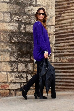 purple blouse - black Primark boots - black Michael Kors jacket