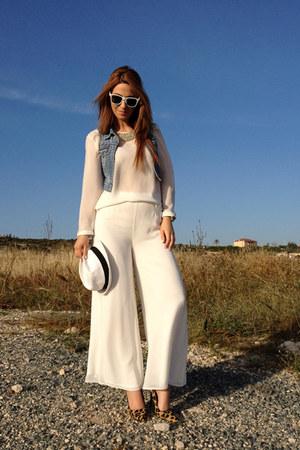 white chiffon pants - white chiffon blouse - blue vest