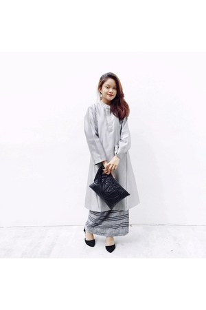 heather gray Baju Kurung dress