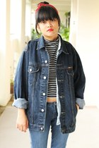 black crop top new look top - blue Uniqlo jeans - navy jacket - light blue shirt
