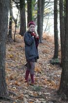 dark gray wool Primark coat - crimson knee high socks Primark socks