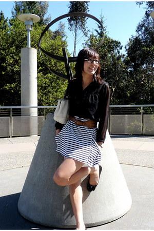 white coach bag - brown belt - white Zara skirt - black sheer black top top