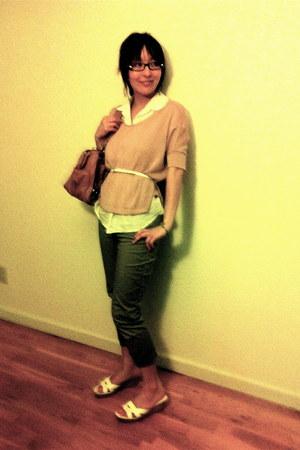 bronze bag - white Nine West sandals - olive green Gap pants - white H&M belt -
