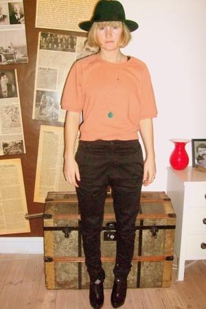 asos hat - Monki sweater - Dr Denim pants - boots - zento accessories