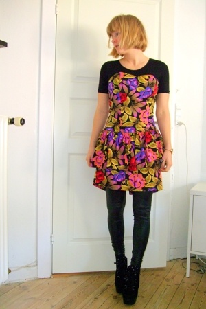 vintage dress - leggings - Topshop boots