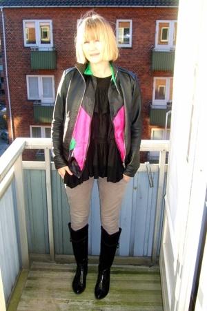 Ichi jacket - vintage jacket - mbym blouse - H&M jeans - zento boots