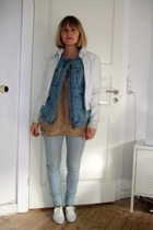jacket - H&M Trend vest - Holly shirt - pieces jeans - shoes