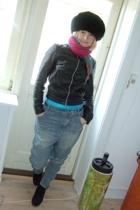 second hand hat - Ichi jacket - H&M Trend jeans - vintage scarf