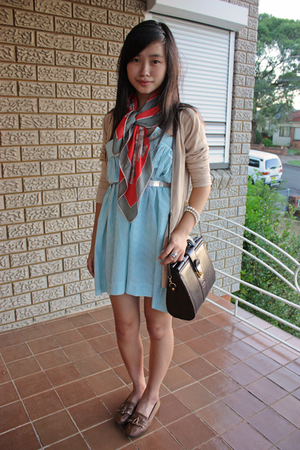 blue thrifted dress - beige random cardigan - brown thrifted bag accessories - b