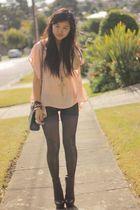 pink Tattoo blouse - black Black Milk Clothing leggings - black gifted boots